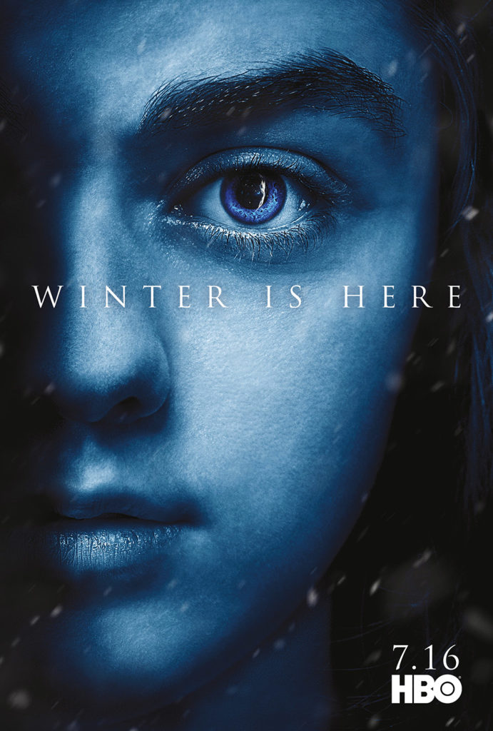 "Affiche Game of Thrones saison 7 ""Winter is Here"" : Arya Stark (crédit HBO)"