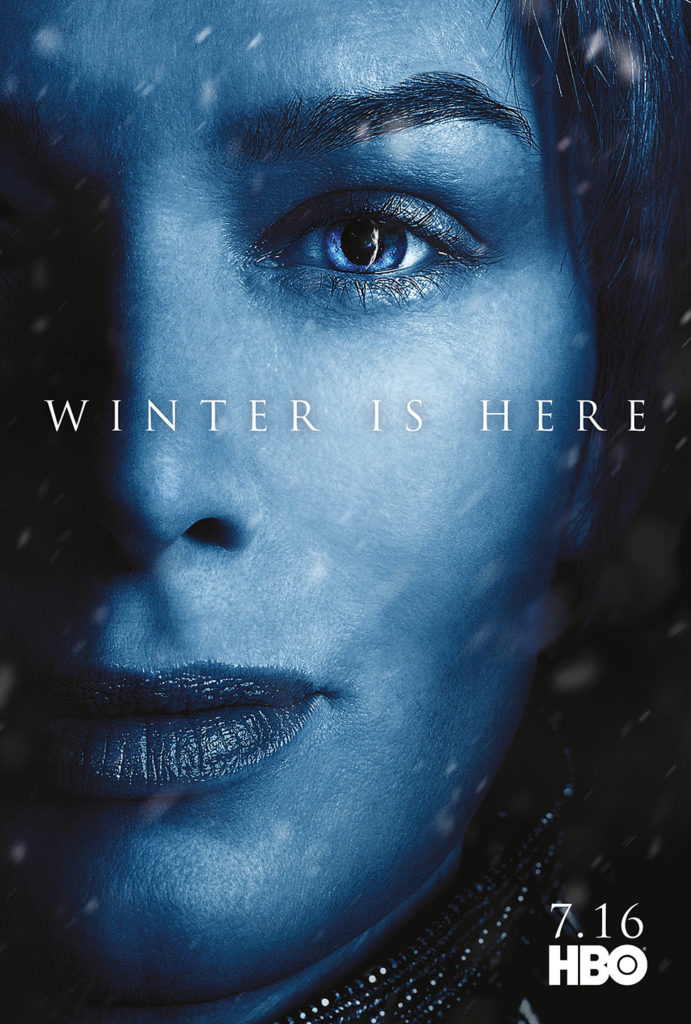 "Affiche Game of Thrones saison 7 ""Winter is Here"" : Cersei Lannister (crédit HBO)"