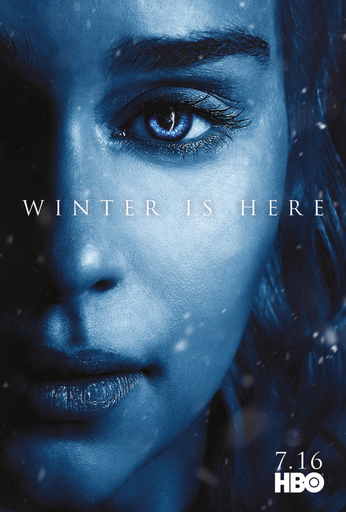 "Affiche Game of Thrones saison 7 ""Winter is Here"" : Daenerys Targaryen (crédit HBO)"