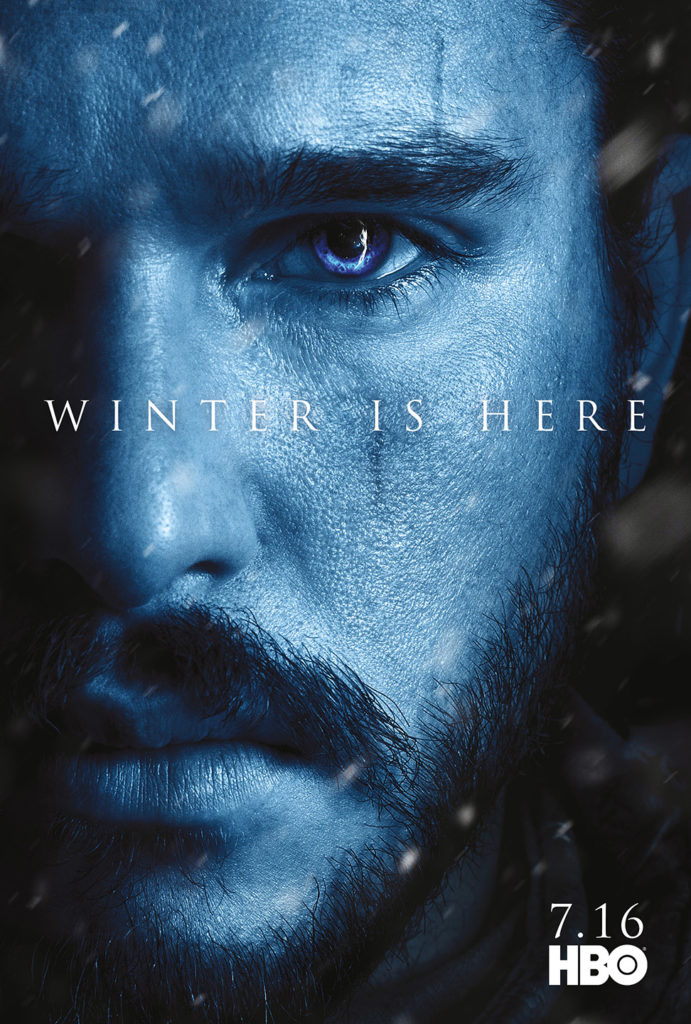 "Affiche Game of Thrones saison 7 ""Winter is Here"" : Jon Snow (crédit HBO)"