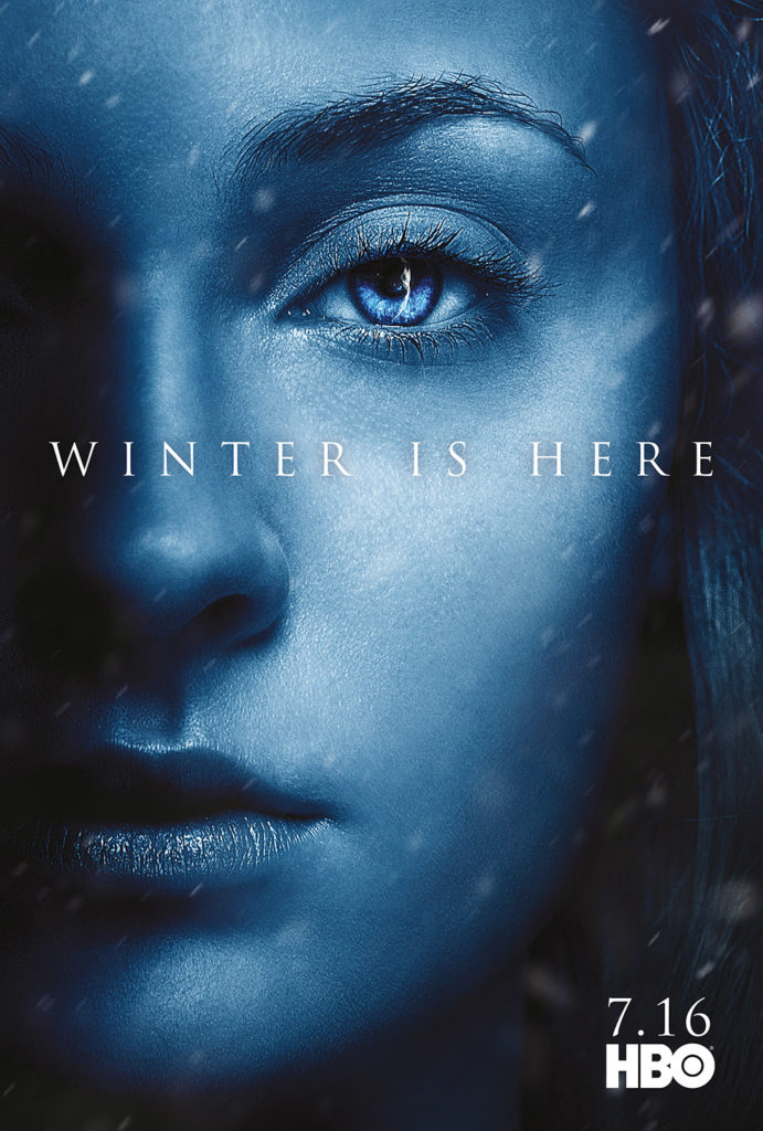 "Affiche Game of Thrones saison 7 ""Winter is Here"" : Sansa Stark (crédit HBO)"