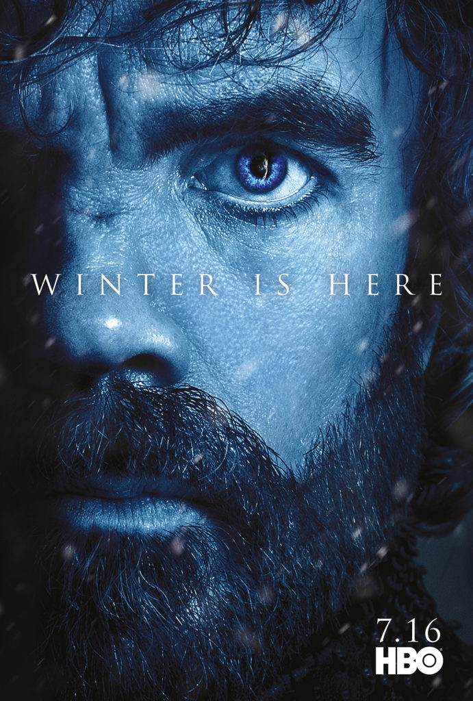 "Affiche Game of Thrones saison 7 ""Winter is Here"" : Tyrion Lannister (crédit HBO)"