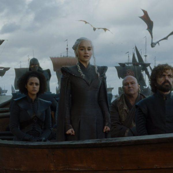 Game of Thrones saison 7 : Missandei, Daenerys Targaryen, Varys et Tyrion Lannister (crédit HBO)