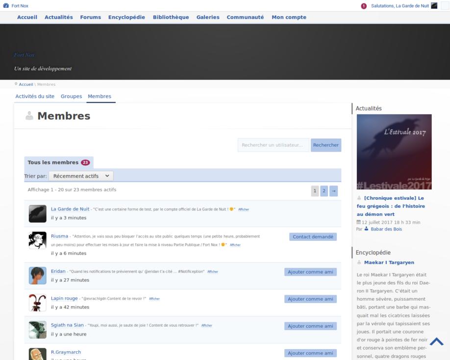 Liste de membres (développement)