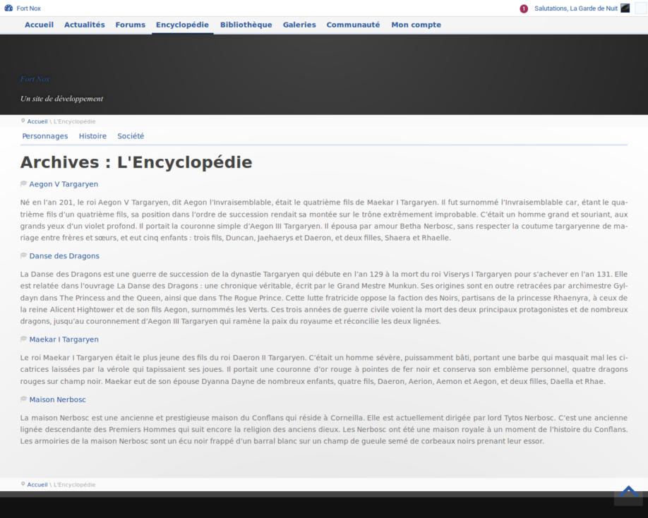 Accueil de l'encyclopédie (développement)