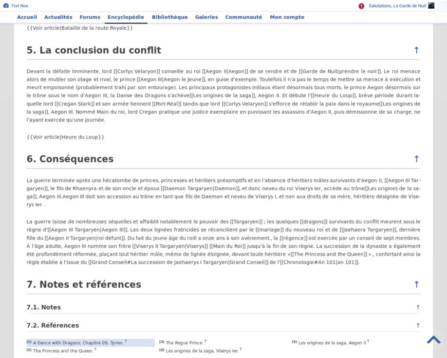 Références et notes de l'encyclopédie (développement)