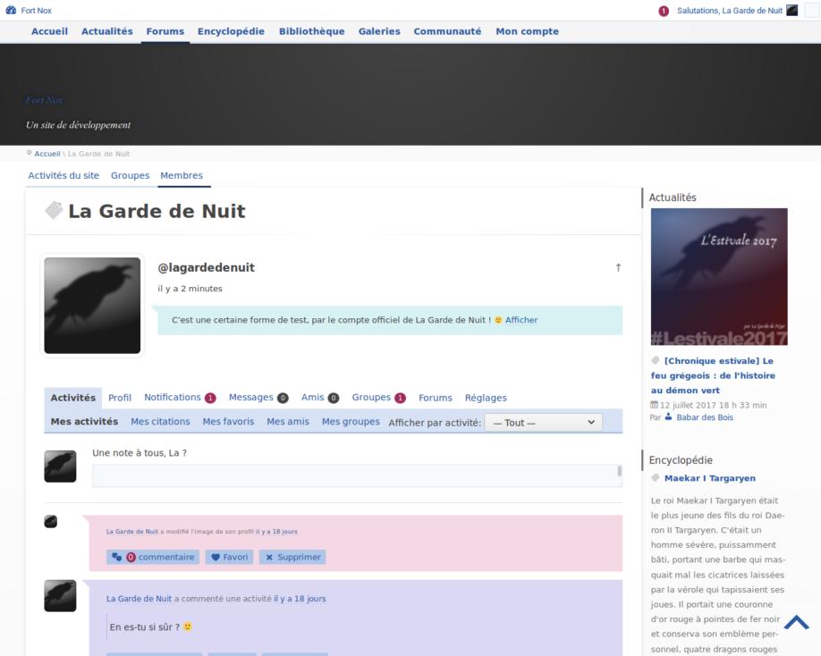 Profil utilisateur (développement)