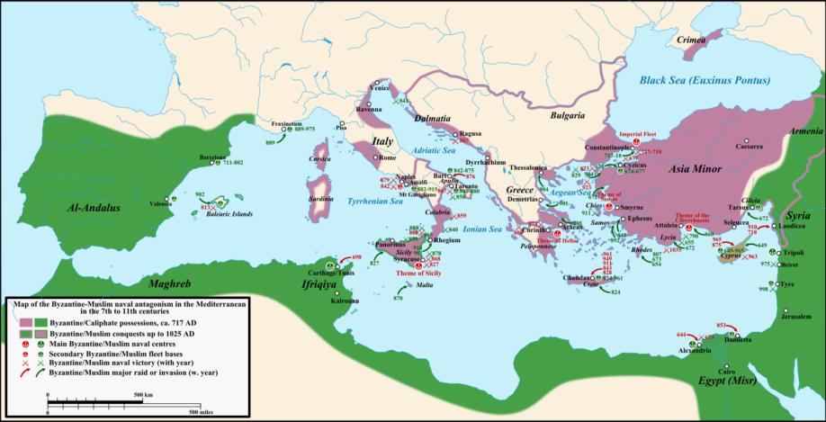 Carte représentant les affrontements arabes et byzantins ainsi que leurs territoires, du 8ème siècle au 11ème siècle. En violet : territoires byzantins En vert : territoires arabes (Crédit : Wikimedia Commons, (c) Cplakidas)
