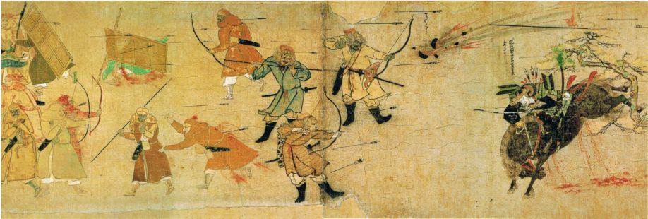 Bataille de Bun'ei (1274), pendant les invasions mongoles du Japon. Le dessin montre un samouraï (Tekezaki Suenaga) combattant les guerriers mongols à l'aide de grenades à main. 7ème dessin du premier rouleau des Mōko Shūrai Ekotoba (rouleaux illustrés des invasions mongoles) (Crédit : Wikimédia Commons)