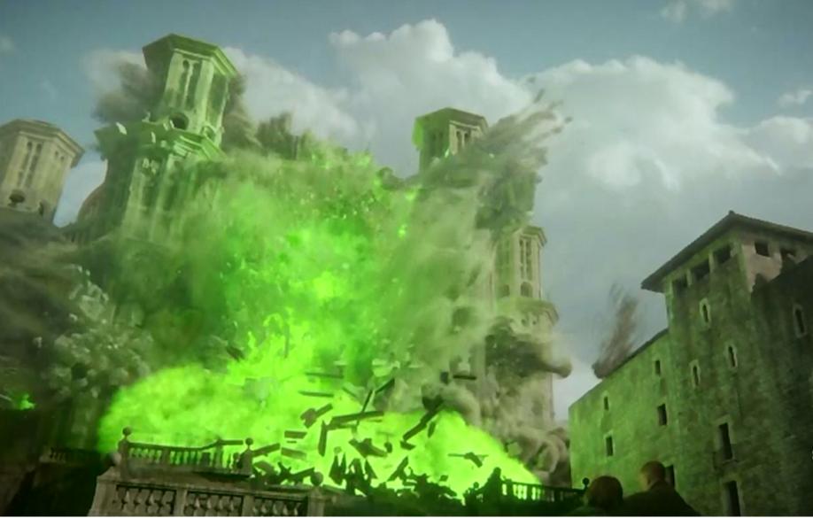 Destruction du Grand Septuaire de Baelor (et de ses occupants) par le feu grégeois (saison 6, épisode 10) (Crédit HBO)