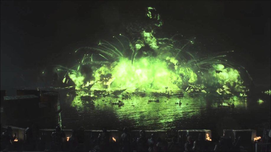 Bataille de la Néra : la flotte de Stannis est anéantie par le feu grégeois (saison 2, épisode 9) (crédit HBO)