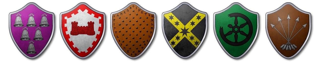 Les blasons des seigneurs déclarants : Belmore, Rougefort, Royce, Templeton, Vanbois et Veneur (Crédits : La Garde de Nuit)