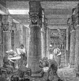 Gravure représentant la bibliothèque d'Alexandrie, XIXème siècle (crédits : Wikimedia Commons)