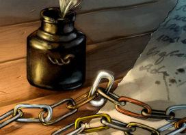 Chaîne de mestre de la Citadelle, composée de maillons de différents métaux (crédits : Tim Durning, Fantasy Flight Games)
