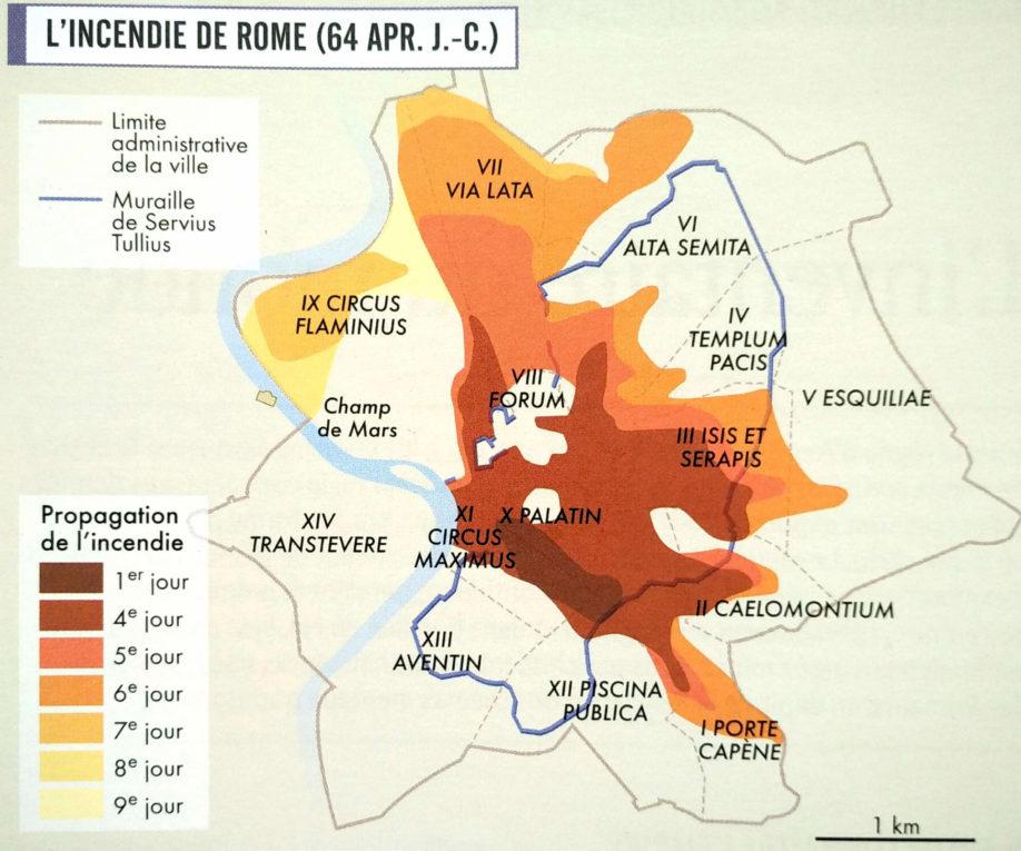 Progression du grand incendie de Rome, juillet 64 ap. J.-C. (d'après C. Badel et H. Inglebert, Grand Atlas de l'Antiquité romaine, éditions Autrement 2014)