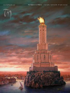 Grand-Tour de Villevieille, avec la forteresse noire comme premier étage, et ses six autres niveaux à sept faces (crédits : Ted Nasmith, TWOIAF)