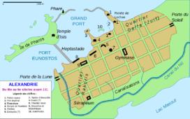 Plan de d'Alexandrie durant la période antique, avec son plan hippodamien (crédits : Limpzen, Wikimedia Commons)