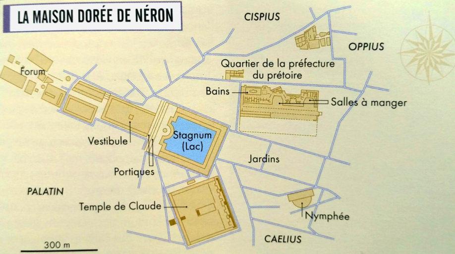 Reconstitution du plan de la domus aurea (d'après C. Badel et H. Inglebert, Grand Atlas de l'Antiquité romaine, éditions Autrement 2014)