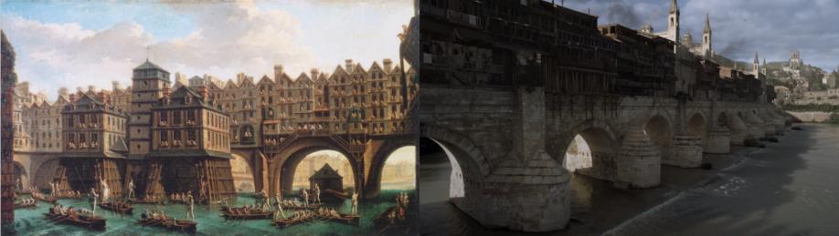 À gauche : Tableau représentant un pont habité à Paris au XVIIIème siècle (La joute des mariniers, entre le pont Notre-Dame et le pont au Change, J.-B. Raguenet, 1751 - Musée Carnavalet, Paris) (Crédits : Wikimedia Commons) À droite : Aperçu de la cité libre de Volantis (Crédits : HBO)