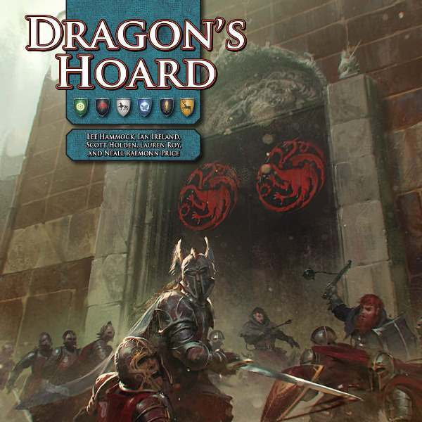 "Couverture recadrée de ""Dragon's Hoard"", chronique (module) pour le jeu de rôle ""A Song of Ice and Fire Roleplaying"" (SIFRP), dessin de Slawomir Maniak,"