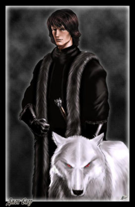 "Jon Snow et Fantôme (Crédits <a href=""http://www.amokanet.ru/"">Amok</a>)"