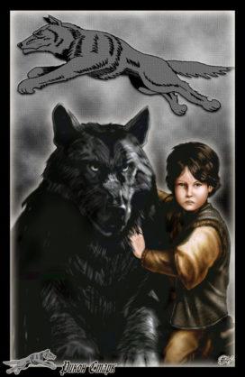 Rickon Stark et Broussailles (Crédits Amok)