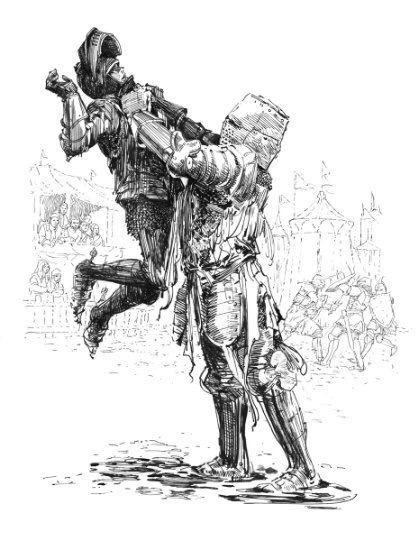 Dunk maîtrisant Aerion Targaryn pendant le Jugement des Sept (crédits : Garry Gianni, A Knight of the Seven Kingdoms)