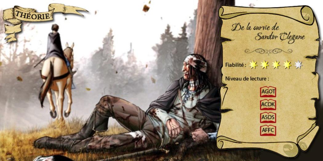 Arya laissant derrière elle Sandor Clegane mortellement blessé (illustration : Mike S. Miller ; montage : Evrach, La Garde de Nuit)