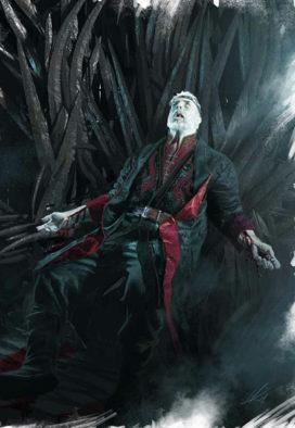 Mort de Maegor Targaryen sur le Trône de Fer (crédits : Michael Komarck ; TWOIAF)