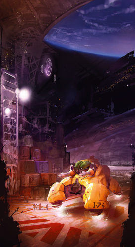 Illustration de couverture du reccueil de nouvelles Des Astres et des Ombres, par Marc Simonetti