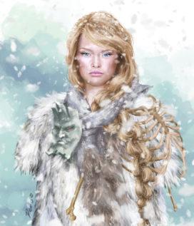 "Val, ""princesse sauvageonne"" dans sa tenue blanche (ADWD) ; crédits : VilePero."