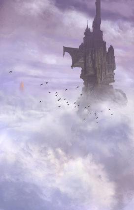 """L'Hôtel de Wraithworld, dans la Nouvelle """"Au Matin Tombe la Brume"""", dont certains éléments seront repris pour créer les Eyriés (illustration de Marc Simonetti pour J'Ai Lu)"""
