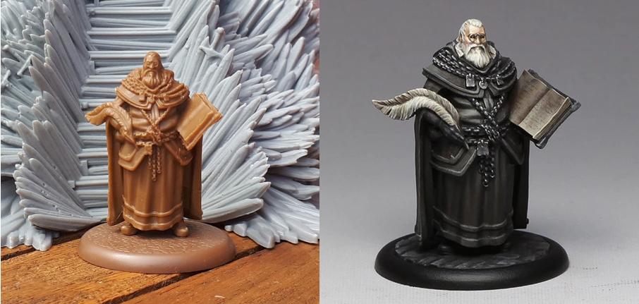 Figurine exclusive de la campagne Kickstarter : George R. R. Martin - à gauche : figurine finale ; à droite : figurine peinte par Jen Haley (© CMON ; photo : Babar)