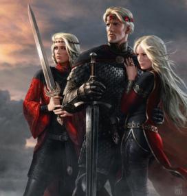 Aegon le Conquérant et ses deux sœurs, Visenya et Rhaenys Targaryen (par Amok)