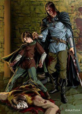 Arya Stark, en compagnie du Limier (Sandor Clegane), tue Titilleur dans l'auberge du Carrefour (crédits : Mathia Arkoniel)