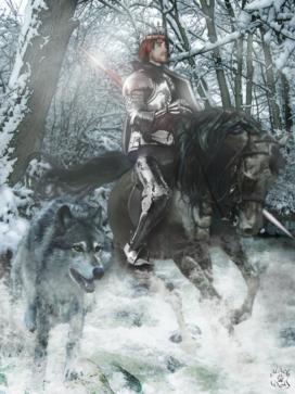 Robb Stark, roi du Nord, chevauche en compagnie de son loup, Vent Gris (crédits : Blackwolf Studio)