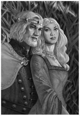 Le roi Jaehaerys I Targaryen et la reine Alysanne Targaryen (crédits : Doug Wheatley , Fire and Blood)
