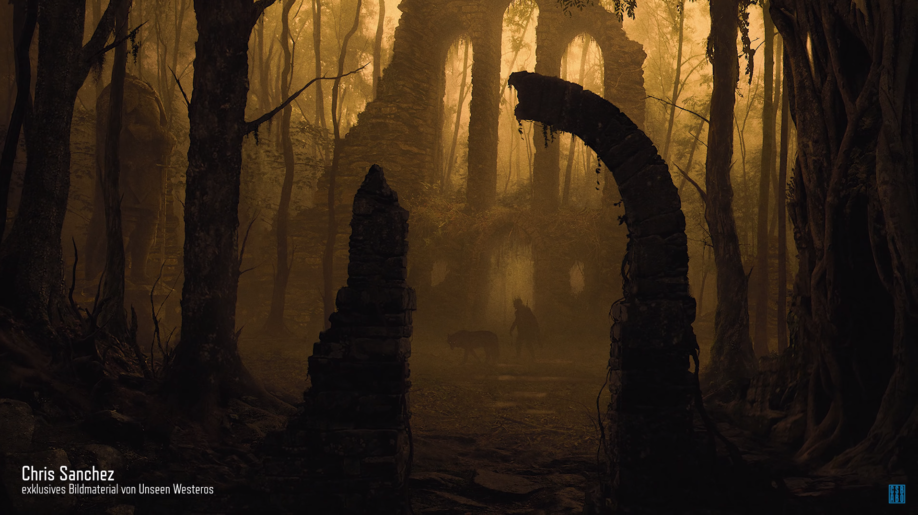Les ruines du royaume des Iféquevrons par Chris Sanchez, pour Unseen Westeros (crédits :  Chris Sanchez)