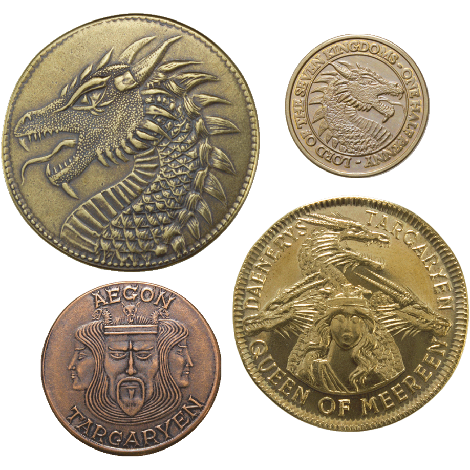 Quelques dragons d'or de la maison Targaryen Crédit : Shire Post Mint