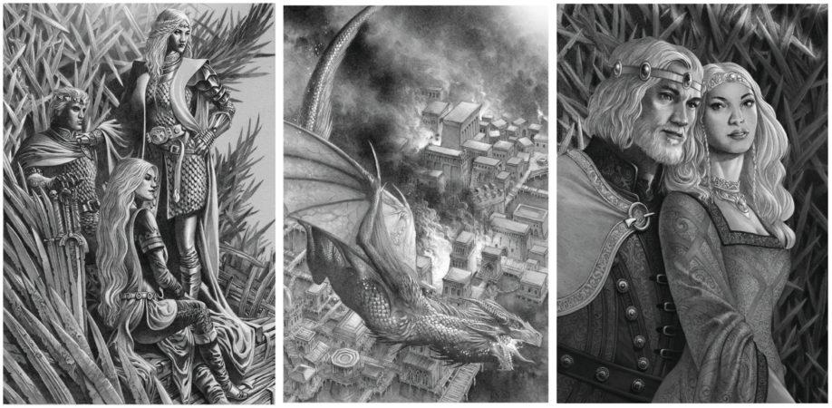 Illustrations de Fire and Blood, par Doug Wheatley (de gauche à droite : Aegon I Targaryen et ses soeurs-épouses, Rhaenys et Visenya Targaryen sur le Trône de Fer ; Rhaenys sur son dragon Meraxès ; Jaehaerys I Targaryen et sa soeur-épouse Alysanne Targaryen, sur le Trône de Fer)