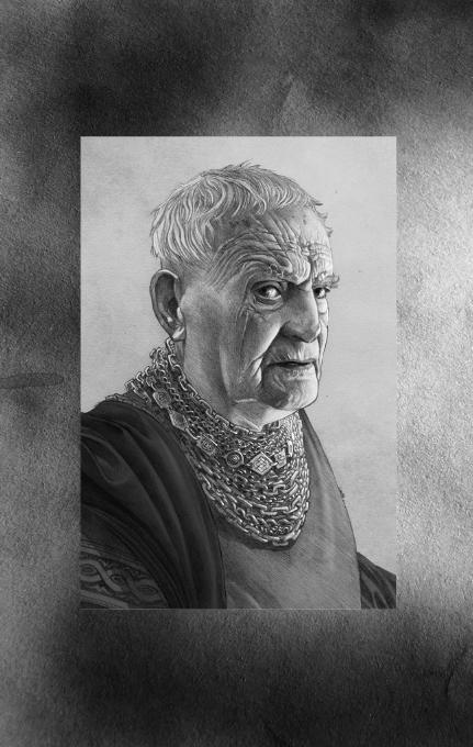 Portrait d'archimestre Gyldayn, l'auteur (dans l'univers du Trône de Fer) de Fire and Blood (crédits : Doug Wheatley ; Fire and Blood)