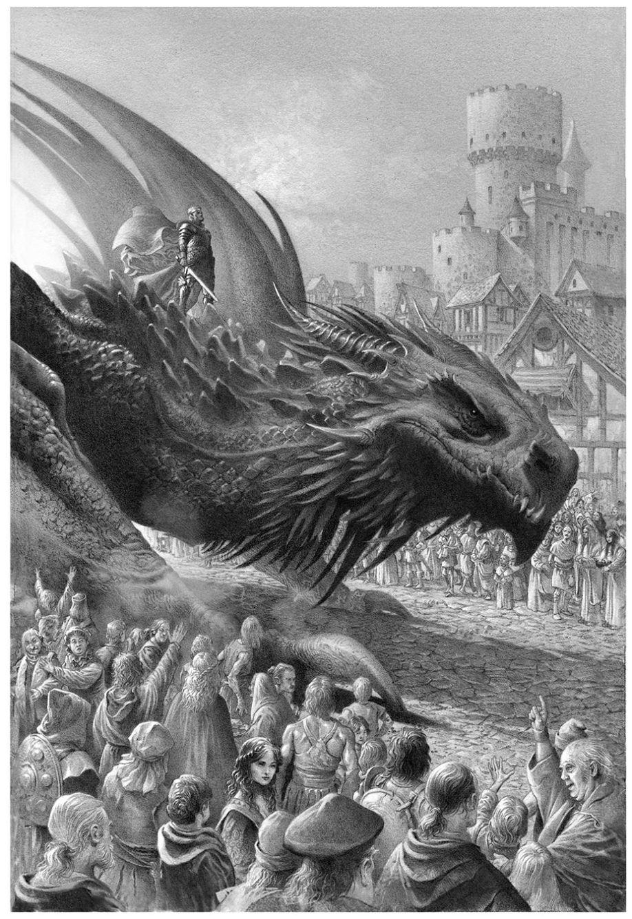Le roi Aegon I Targaryen sur son dragon Balerion, à Port-Réal (crédits : Doug Wheatley, Fire and Blood)