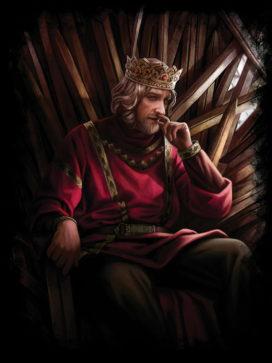 Aenys Targaryen sur le Trône de Fer (crédits : Magali Villeneuve ; TWOIAF)