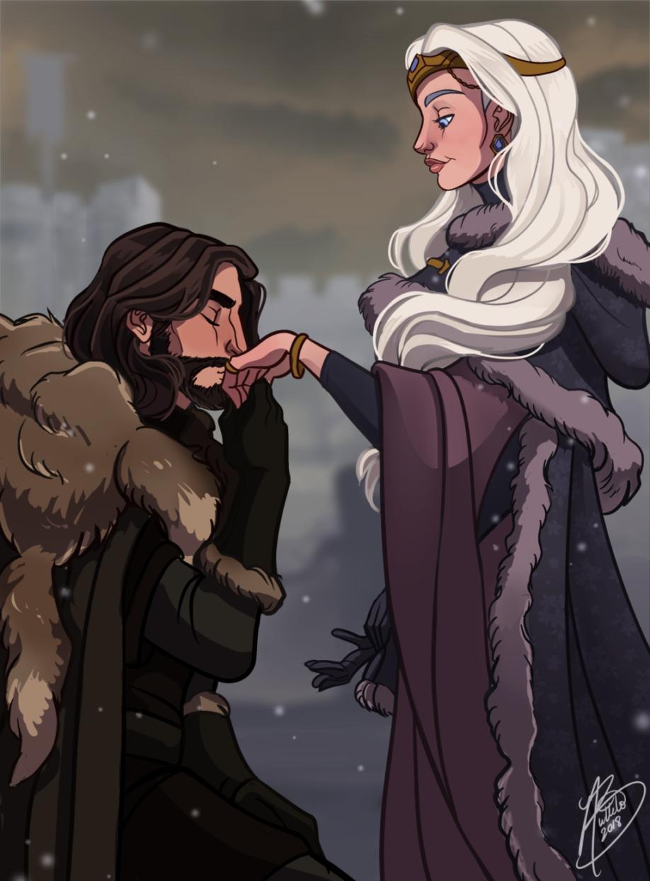 La reine Alysanne Targaryen et lord Alaric Stark (crédits : Naomimakesart)