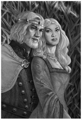 Le roi Jaehaerys I Targaryen et sa sœur-épouse, la Bonne Reine Alysanne (crédits : Doug Wheatley, Fire and Blood)