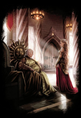 Meria Martell, princesse de Dorne, refuse de se soumettre à Rhaenys Targaryen (crédits : Magali Villeneuve ; TWOIAF)