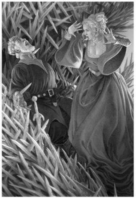 Elinor Costayne découvrant le roi Maegor sur le Trône de Fer (crédits : Doug Wheatley, Fire and Blood)