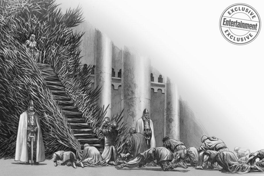 Rhaenyra Targaryen sur le Trône de Fer, après la prise de Port-Réal (crédits : Doug Wheatley ; Fire and Blood).
