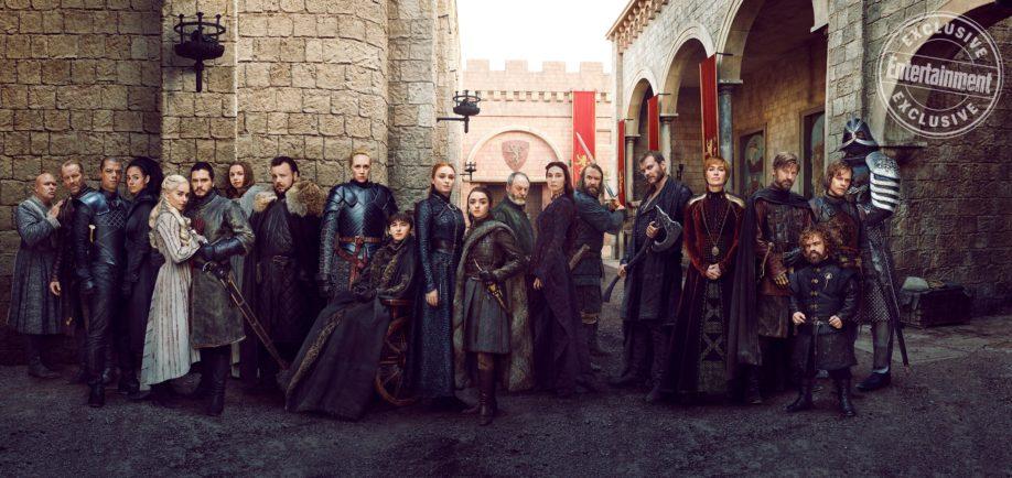 Réunion des acteurs principaux pour l'ultime saison de Game of Thrones (crédits : Marc Hom, EW)