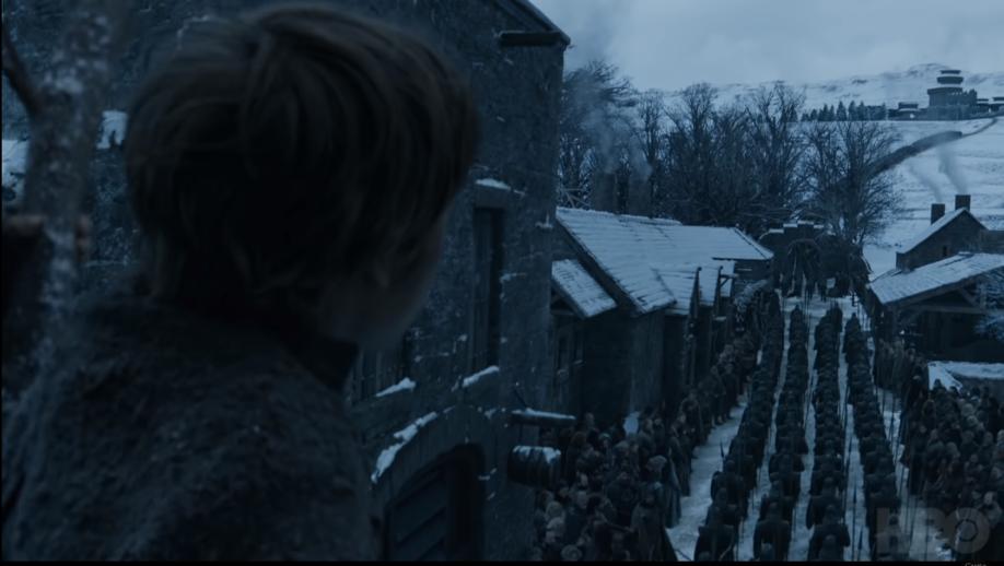 Arrivée des Immaculés à Winterfell (crédits : HBO)